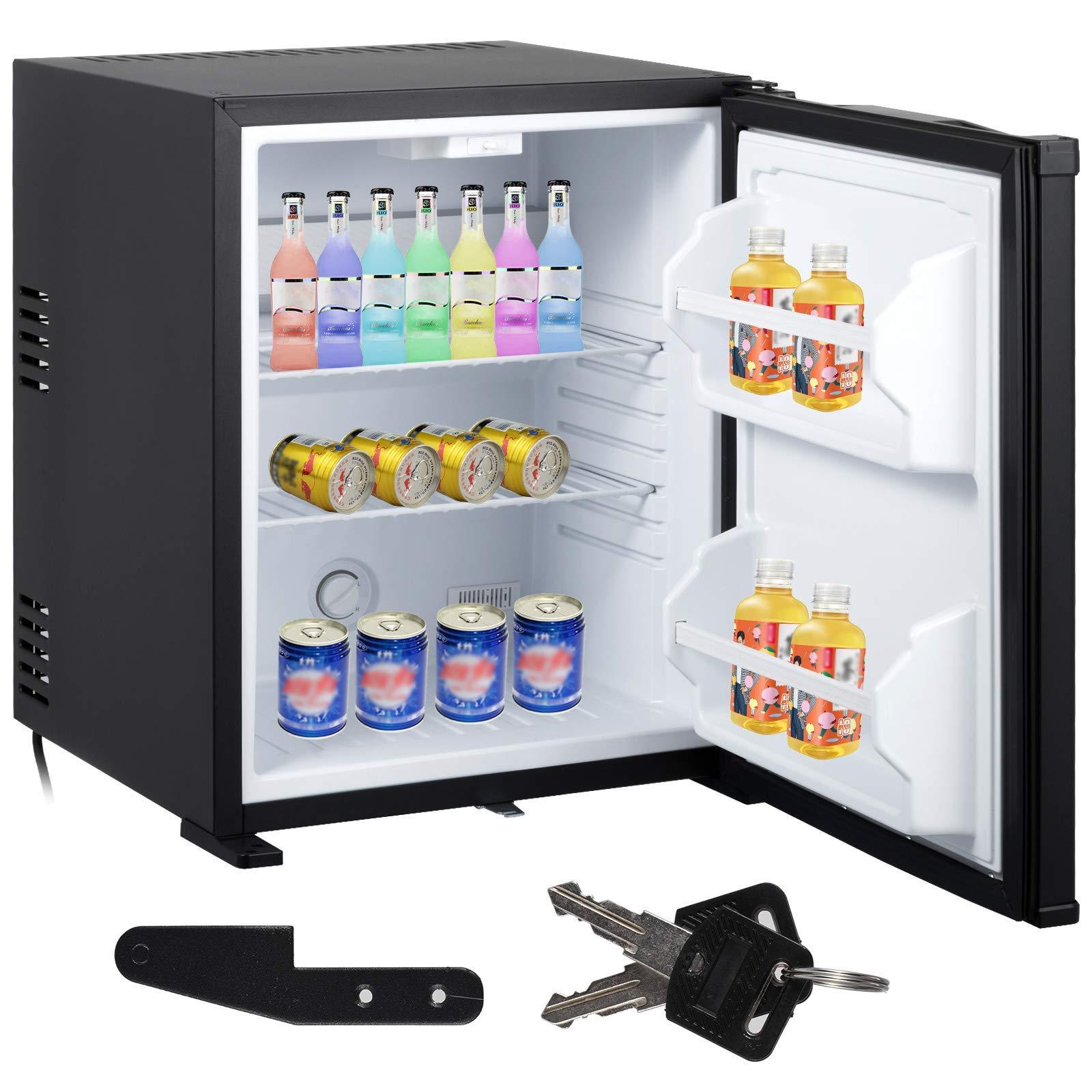 VEVOR Absorption Fridge 1.4 cu.ft 40L Compact Refrigerator Silent Mini Cooler Black with Lock Reversible Door For Hotel Bar Car Vehicle Apartment Camping