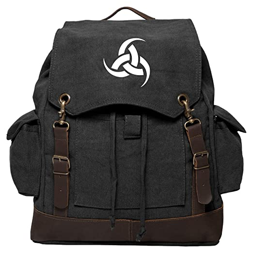 f209a00ce415 Odin-Triple-Horn Vintage Canvas Rucksack Backpack w  Leather Straps