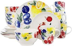 Elama Round Stoneware Fruity Dinnerware Dish Set, 16 Piece, White with Multicolored Fruit
