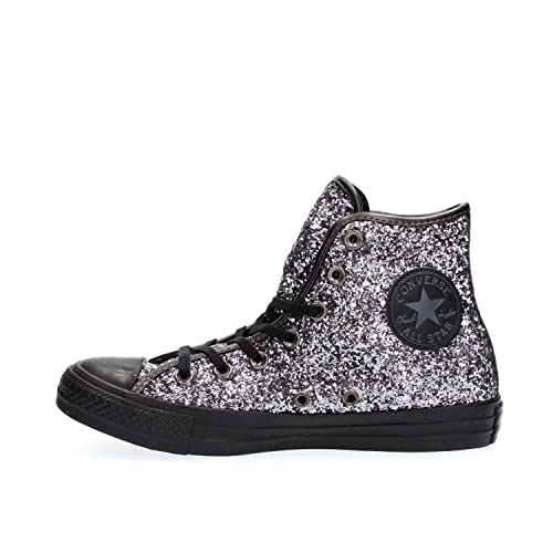 3015c7cf526b Converse Women s All Star Hi Glitter Trainers Silver Silver Black 6 ...