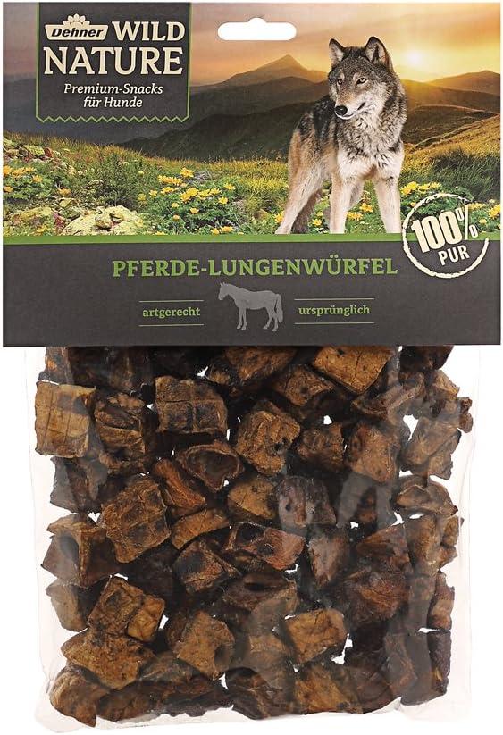 Dehner Wild Nature - Comida para Perros, Cubitos de pulmón de Caballo, sin aditivos, 200 g
