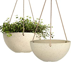 LA JOLIE MUSE Hanging Planters for Indoor Plants - Flower Pots Outdoor 10 inch Garden Planters and Pots,Speckled Yellow Set of 2