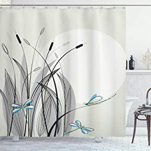 "Ambesonne Dragonfly Shower Curtain, Dragonflies on Flowers and Branches Flourishing Nature Spring Time Predator Print, Cloth Fabric Bathroom Decor Set with Hooks, 84"" Extra Long, Beige Black"