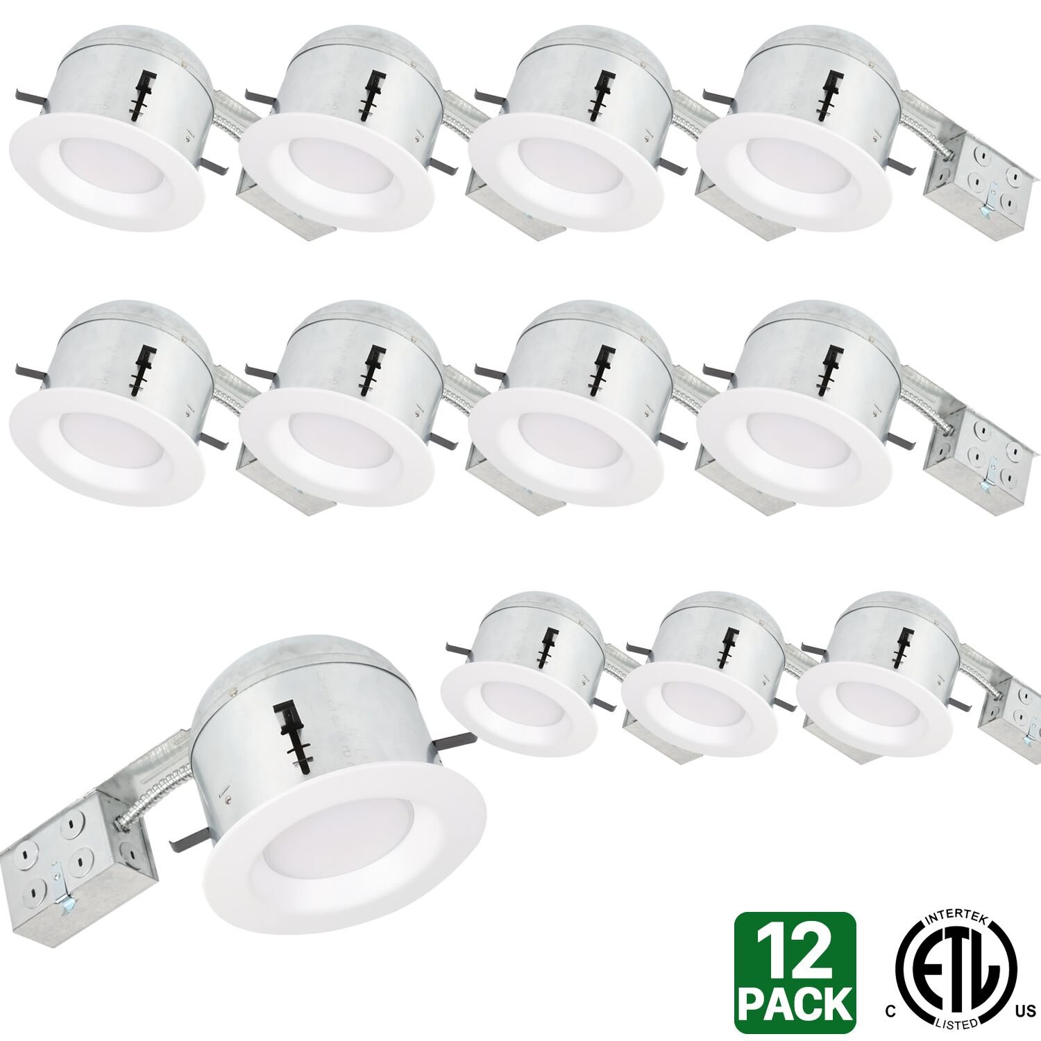 Hykolity 6'' White LED Remodel Recessed Lighting Kits, IC Rated Remodel Housing and Dimmable LED Downlight Wet Rated 15W 1100lm 3000K Warm White ETL Listed - Pack of 12