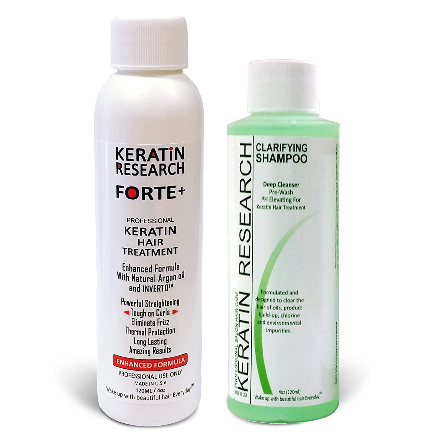 Forte Plus Extra Strength Brazilian Keratin Hair Treatment Professional 120ml Bottle with 120ml Clarifying Shampoo Proven Amazing Results