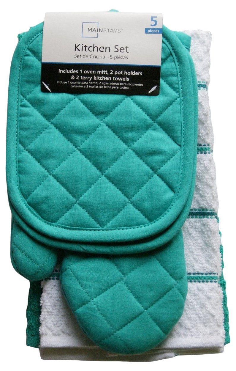 Amazon.com: Mainstays Teal Island Kitchen Towel Set 5 Piece  Pot Holders,  Oven Mitt U0026 2 Terry Kitchen Towels (1, A): Home U0026 Kitchen
