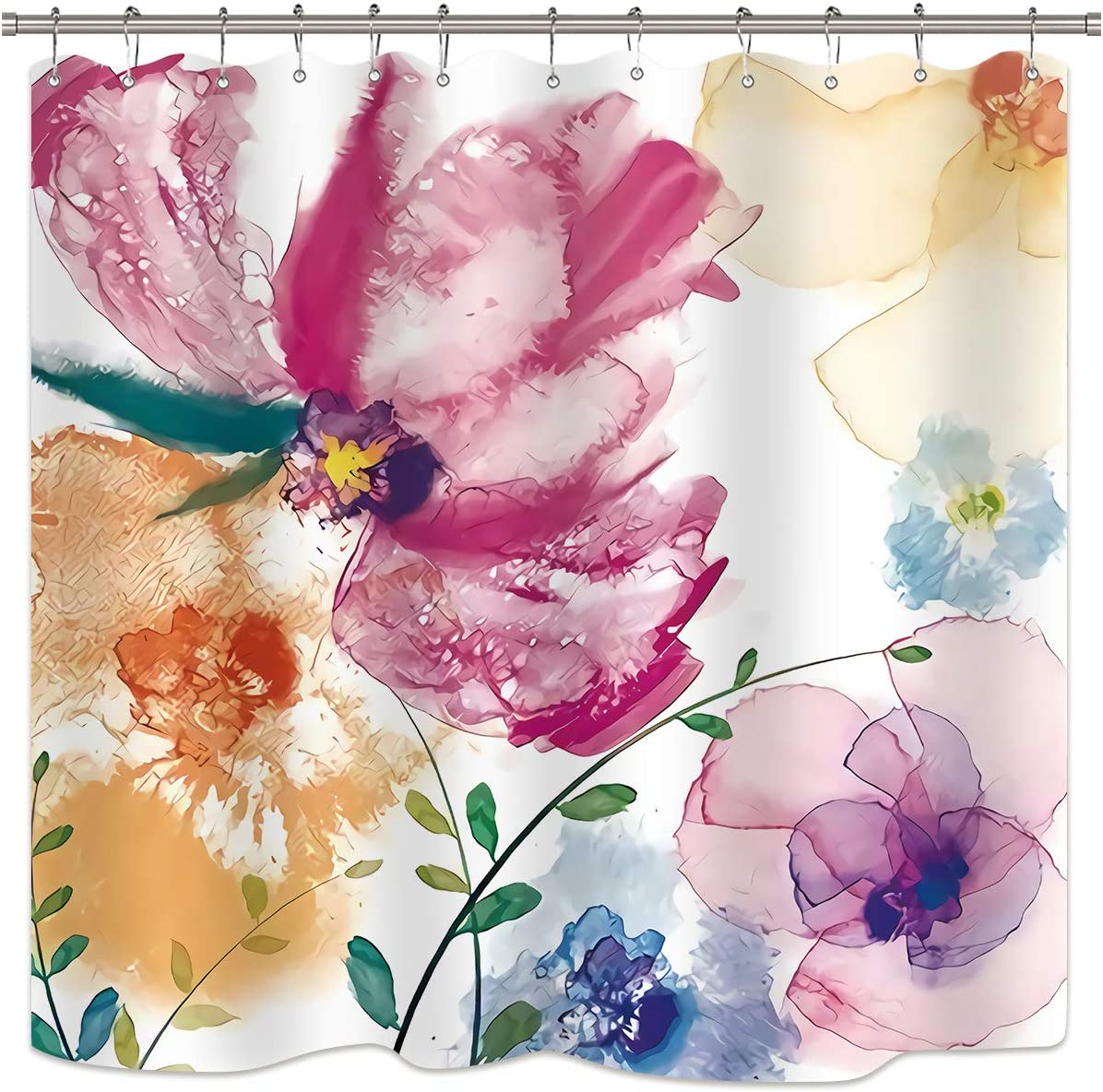 Amazon Com Riyidecor Watercolor Flower Shower Curtain Colorful