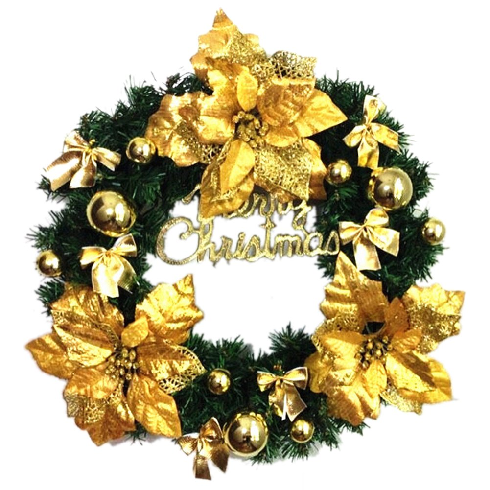 Flowers Christmas Wreath Garland Ornaments Arcades Hotel Christmas Decorations (gold)