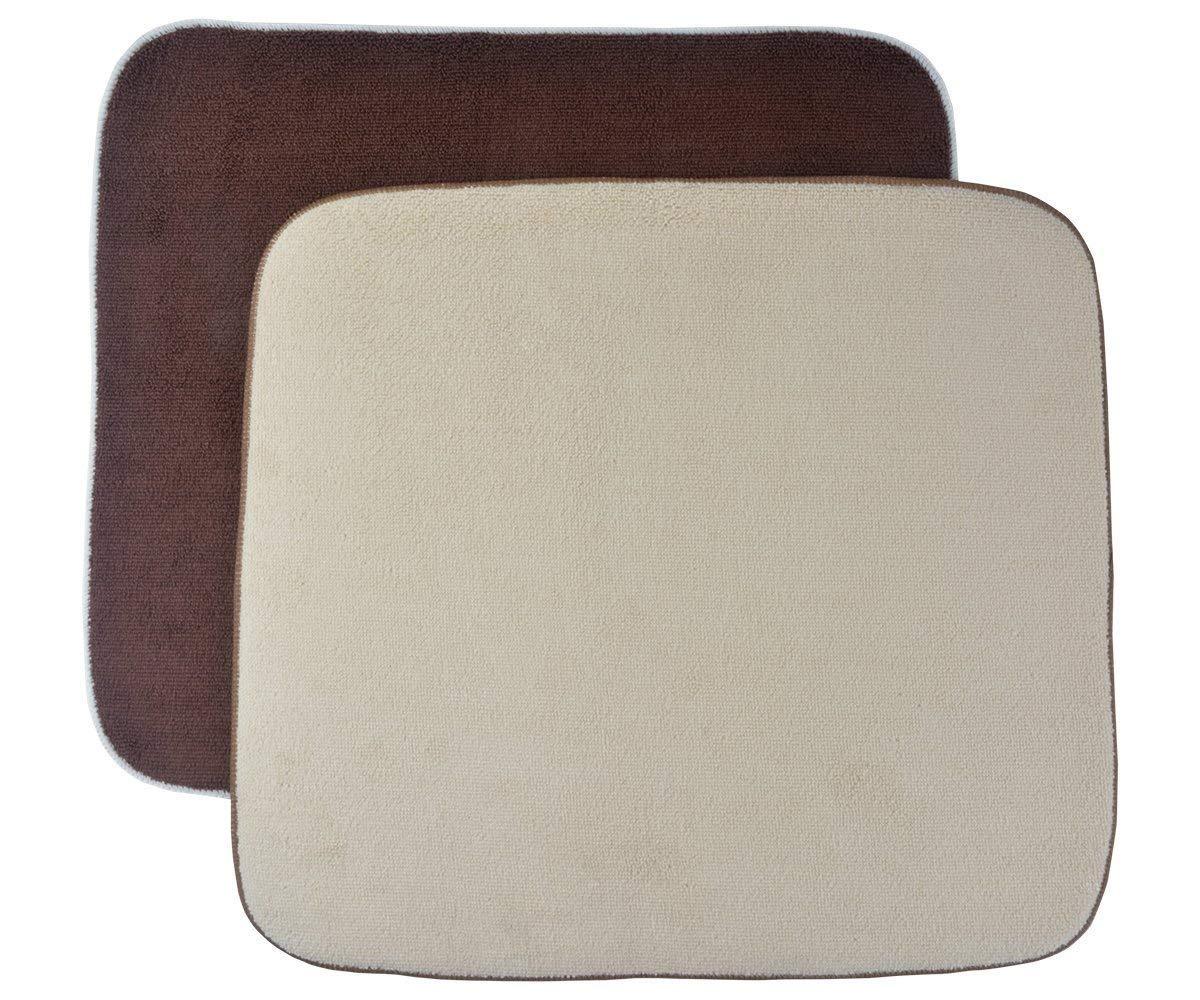 Sinland Kitchen Microfiber Dish Drying Mats Super Absorbent 16x18 (16X18, Cream+Brown)