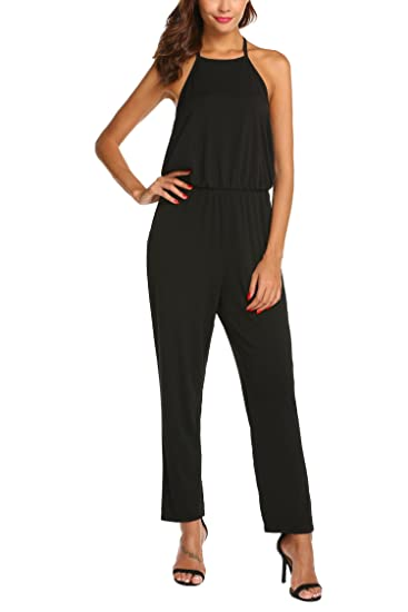 1681f4027a81 Amazon.com  Pasttry Jumpsuits for Women Casual High Neck Halter ...