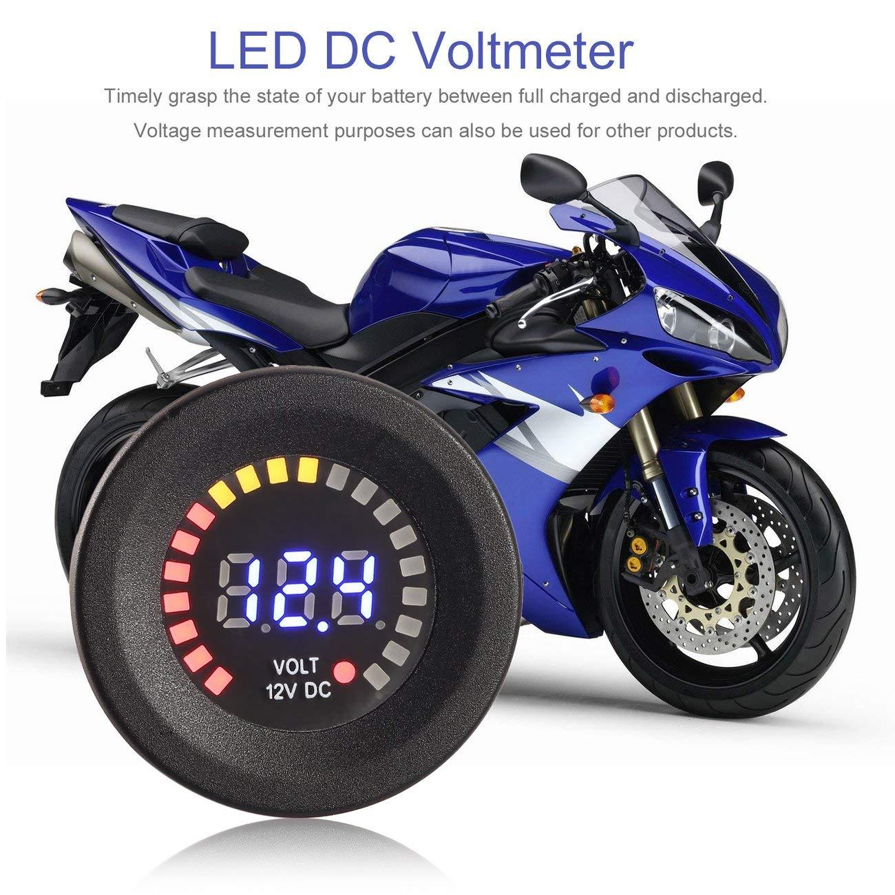 LasVogos Resistente al Calor Impermeable DC 12V Panel Digital Display LED Azul volt/ímetro Voltaje voltio para la Motocicleta del Coche Negro