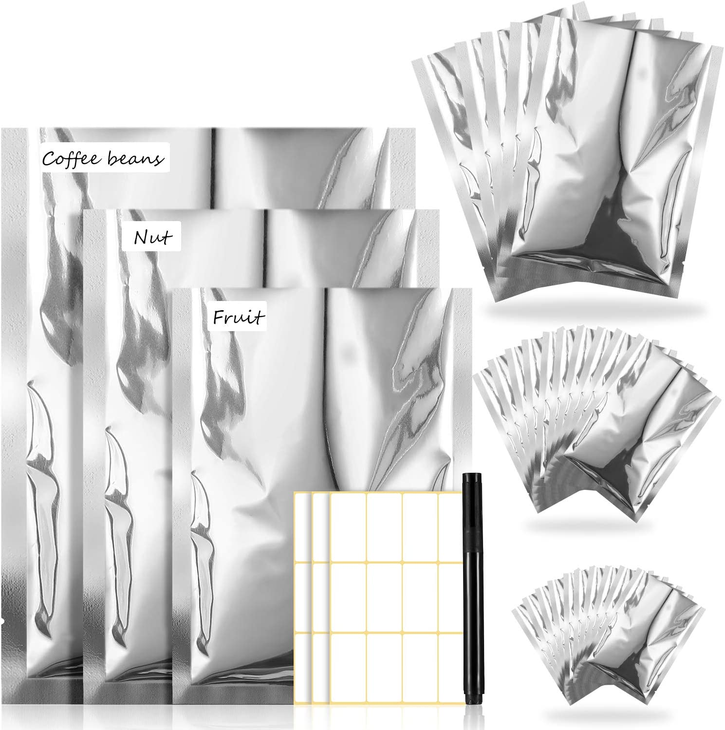 25 Pieces 3 Sizes Mylar Aluminum Foil Bag, Metallic Mylar Foil Flat Heat Sealable Bag Storage Bag Pouch, 3 Pieces Label Tag, Markers for Food Coffee Tea Beans, 6 x 9 Inch, 8 x 12 Inch, 10 x 14 Inch
