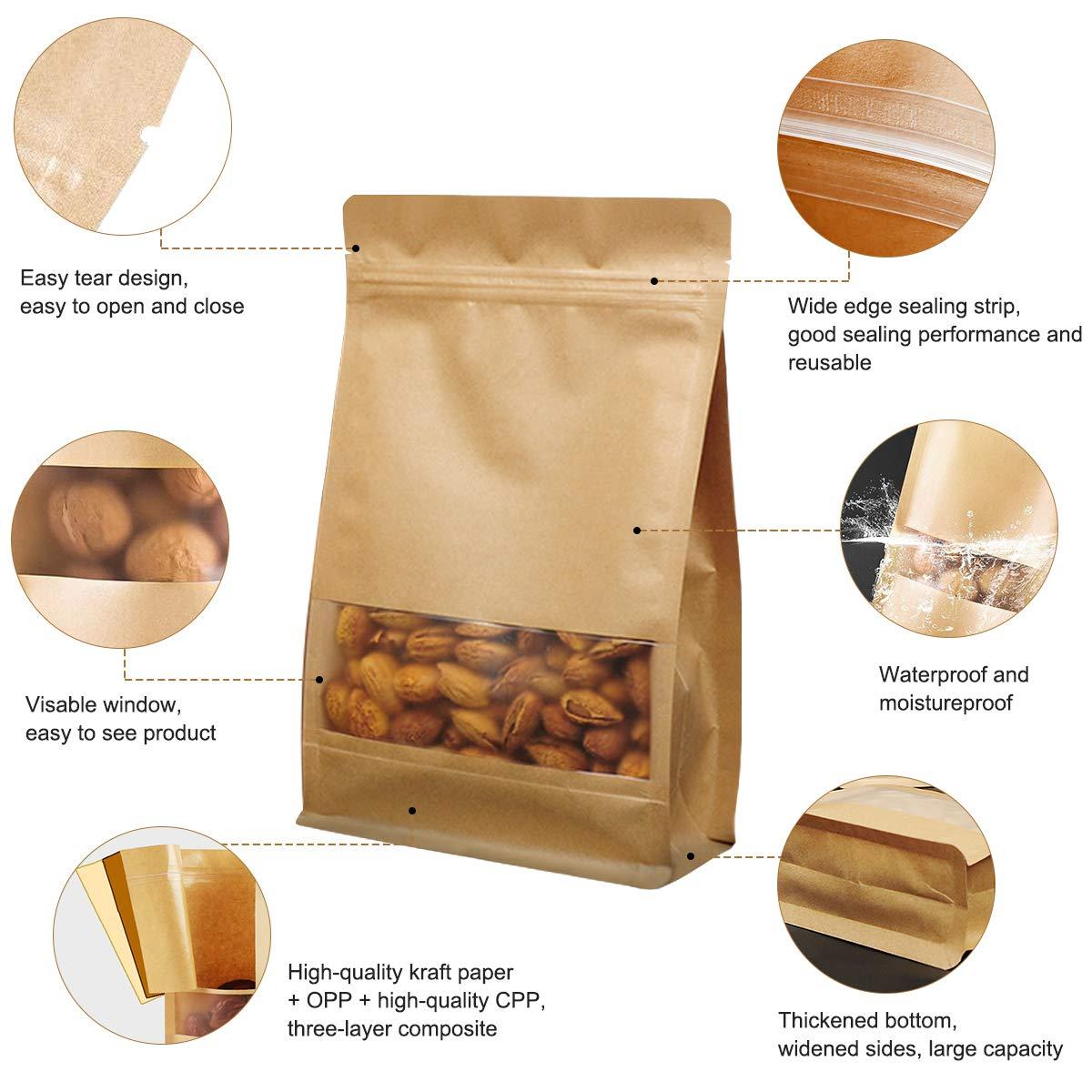 Cierre Zip Impermeable Reutilizables Bolsas de Sellado 14 * 24cm Derbway 30 Piezas Bolsas de Papel Kraft con Ventana Almacenamiento de Alimentos Bolsa de Papel Kraft