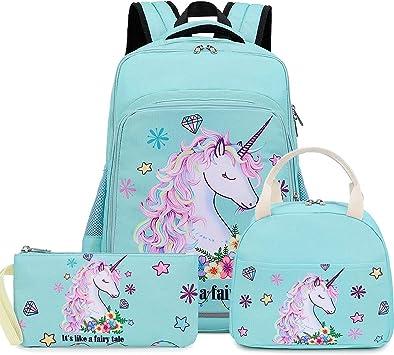 LEDAOU - Mochila escolar para niña, mochila escolar, mochila para niños, mochila escolar, mochila para niños, juego de mochila con bolsa de almuerzo y estuche: Amazon.es: Ropa y accesorios