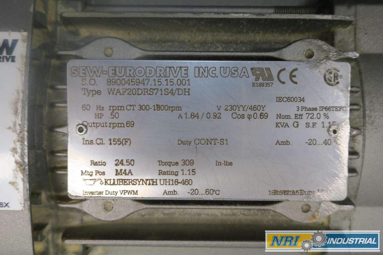 Sew Eurodrive Motor Nameplate Wiring Diagram Waf20drs71s4 Dh 0 5hp 460v 24 50 1 Gear D581740