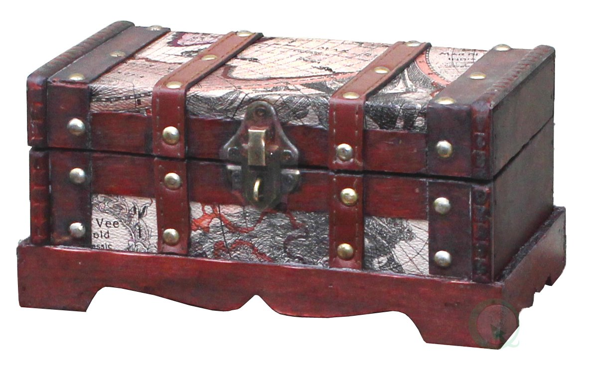 Vintiquewise Old World Map Wooden Trunk/Box Small