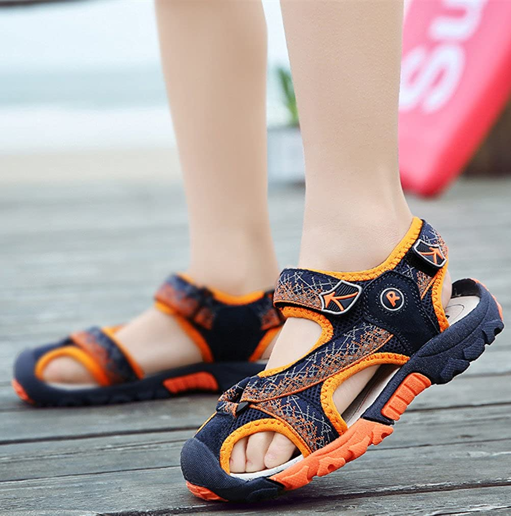 Toddler//Little Kid//Big Kid DADAWEN Summer Beach Outdoor Closed-Toe Sandals for Boys and Girls