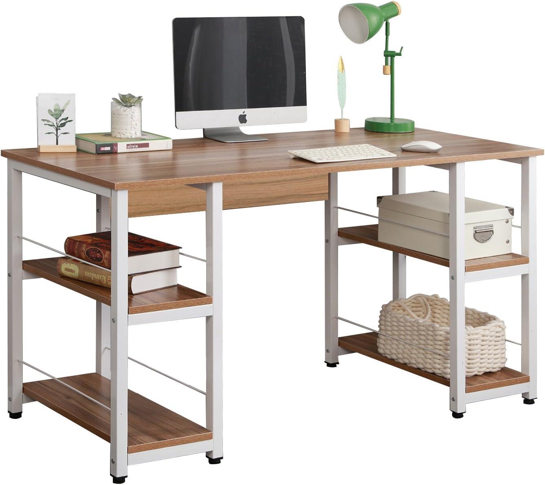 DlandHome 55 inches Computer Desk, Home Office Trestle Desk, Large Workstation Desk with Shelves,Writing Table, DZ012, Oak
