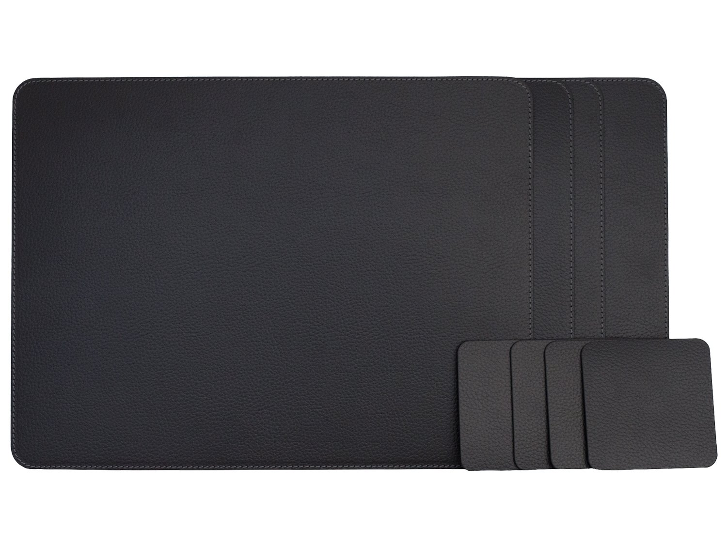 Nikalaz Set of Black Placemats and Coasters, 4 Table Mats and 4 Coasters, Recycled Leather, Place Mats 18'' x 13'' and Coasters 3.9'' x 3.9'', Dining table set