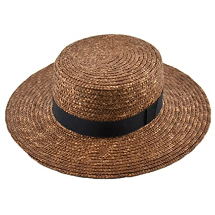 a2424855044 LOVEHATS Women Flat Top Summer Sun Hats Wide Brim Straw Hat Wheat Ladies  Straw Hats Brown