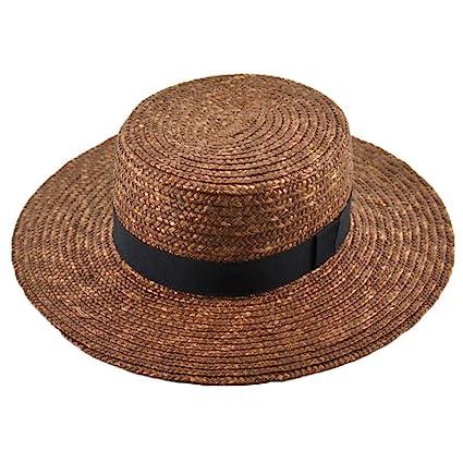 917e7652c5961 LOVEHATS Women Flat Top Summer Sun Hats Wide Brim Straw Hat Wheat Ladies  Straw Hats Brown