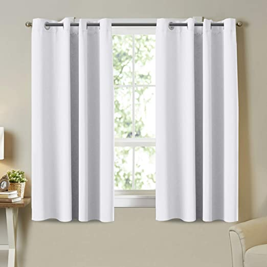 Blackout Curtains for Room Darkening Thermal Insulated Drapes 2 Panel White