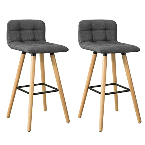 timeless design 4a5f2 c06ff SoBuy® Set of 2 Kitchen Breakfast Barstool, Bar Stool with Fabric Padded  Seat (FST50-DGx2)