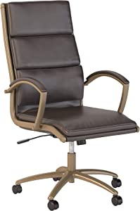 Bush Business Furniture High Back Leather Executive Office Chair for Conference Tables in Brown with Brushed Brass