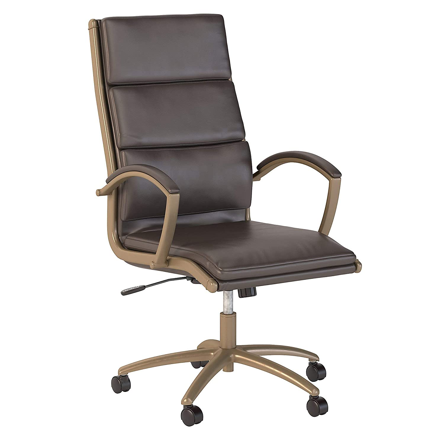 Bush Business Furniture Modelo High Back Leather Executive Office Chair in Brown with Brushed Brass