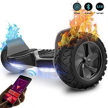 GeekMe Patinete Eléctrico Todo Terreno Scooter de Equilibrio con Potente Motor Luces LED App Bluetooth para Adultos y Niños 8.5 Pulgadas