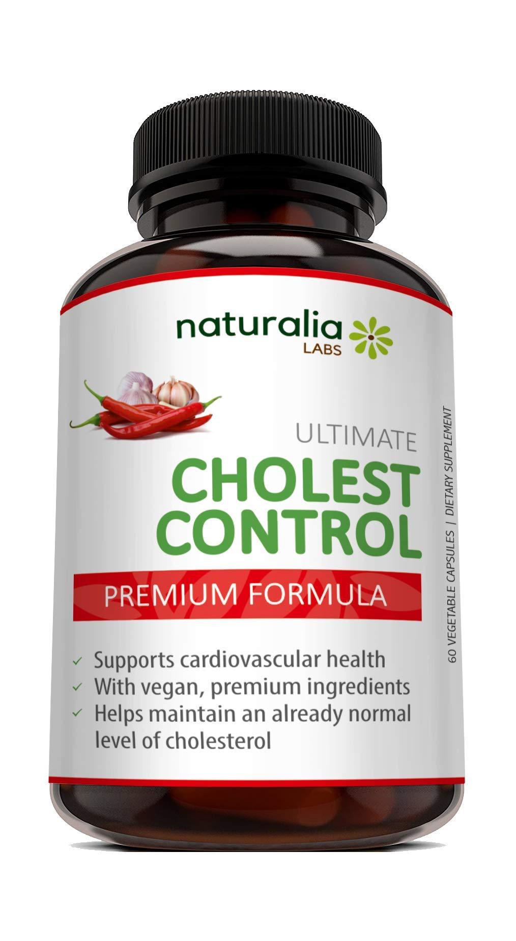 Naturalia Labs - Cholesterol Lowering Supplements - Garlic Pills for Heart Health - 100% Natural Ingredients - Garlic, Guggul, Niacin, Policosanol, Beta Sitosterol - 60 Veggie Capsules