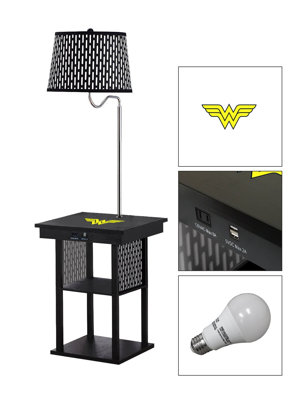 Black Side End Table USB Ports Electric Outlet Built-In Lamp Featuring a Novelty Themed Logo-FREE LED BULB(Wonder Woman)
