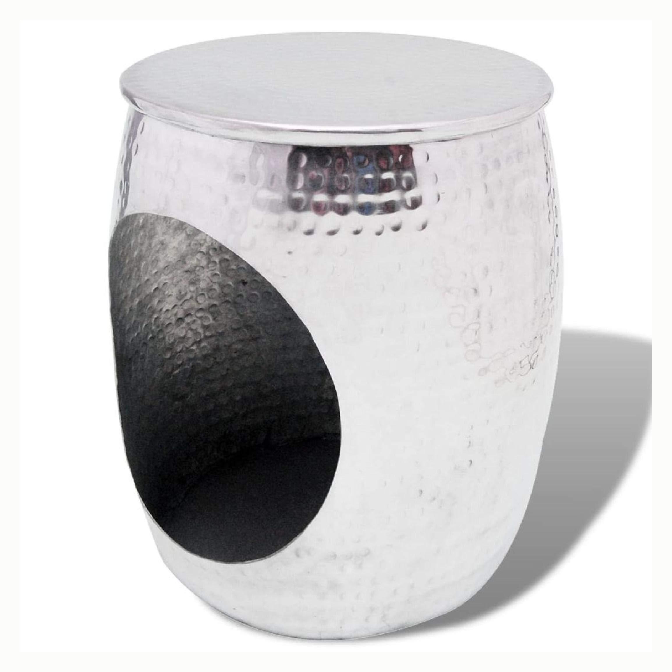 K&A Company Hocker/Side Table Barrel Shape Aluminum Silver by K&A Company (Image #2)
