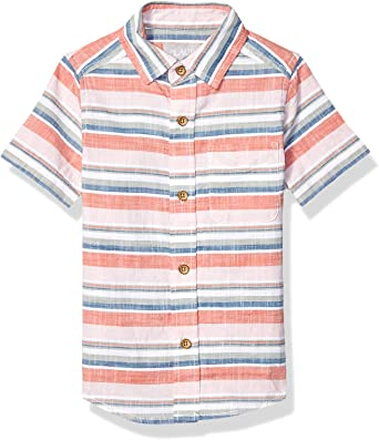 The Childrens Place Big Boys Short Sleeve Printed Button Down Shirt