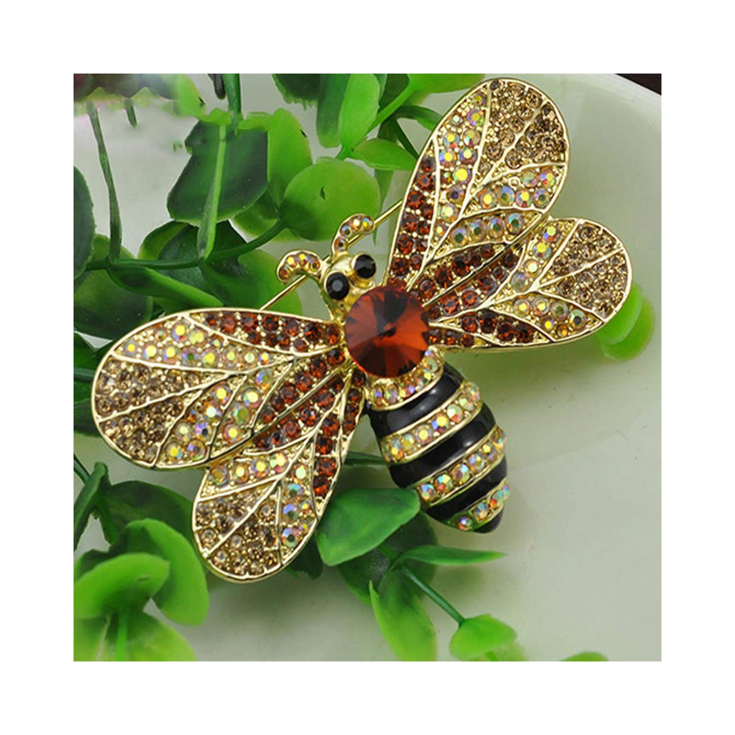AUDIDI Brooches Pins, Clothing Decoration Rose Gold color Zircon Crystal Luxury Bees pins and brooches Fashion brooches for women MLM0075