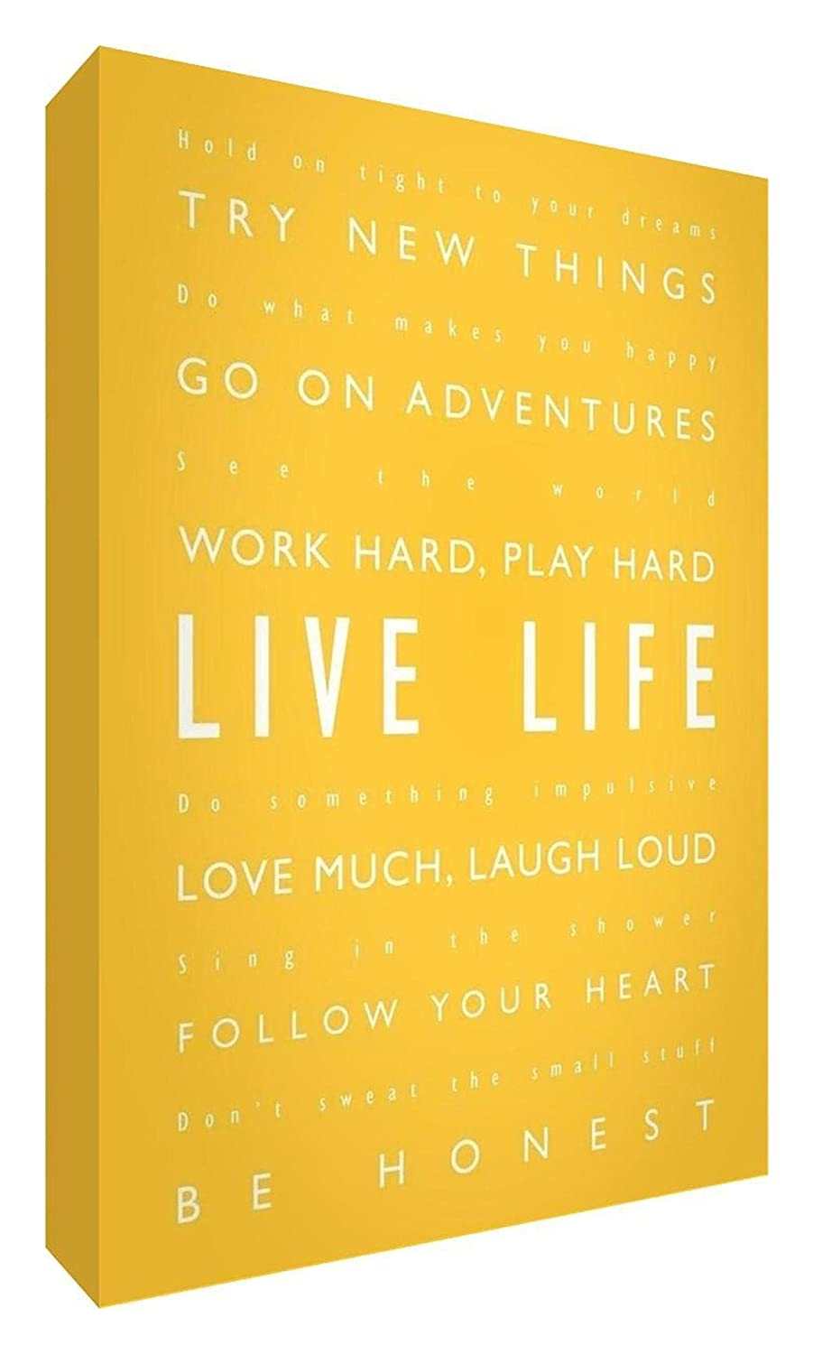 Feel Good Art Gallery Wrapped Box Canvas in Modern Typographic Design (30 x 20 x 4 cm, Yellow, Live Life) NBES-LVLF-128-06
