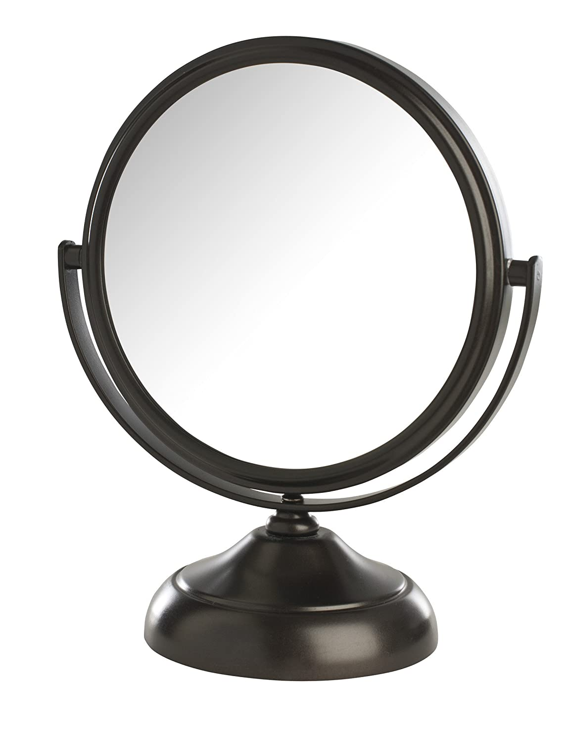 Jerdon MC247BZ Dual-Sided 5X/1X Magnification Table Top Makeup Mirror, Bronze Finish, 1 Count