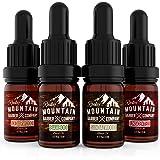 Beard Oil Sample Size Pack - 4 Unique Beard Oil Varieties (0.17 oz each) - Cedarwood, Sandalwood, Bamboo & Unscented – Contai