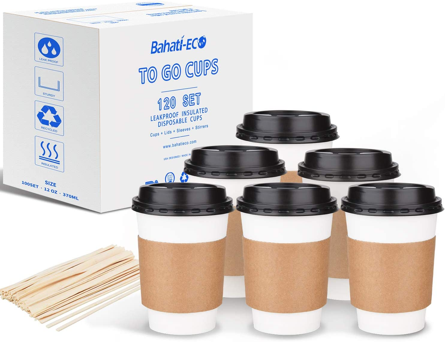 Coffee Cup with Lids 12 oz Disposable Paper Cup with Lids Sleeves and Stirrers, Makers Pen, White, 12oz 120 Set by Bahati Eco