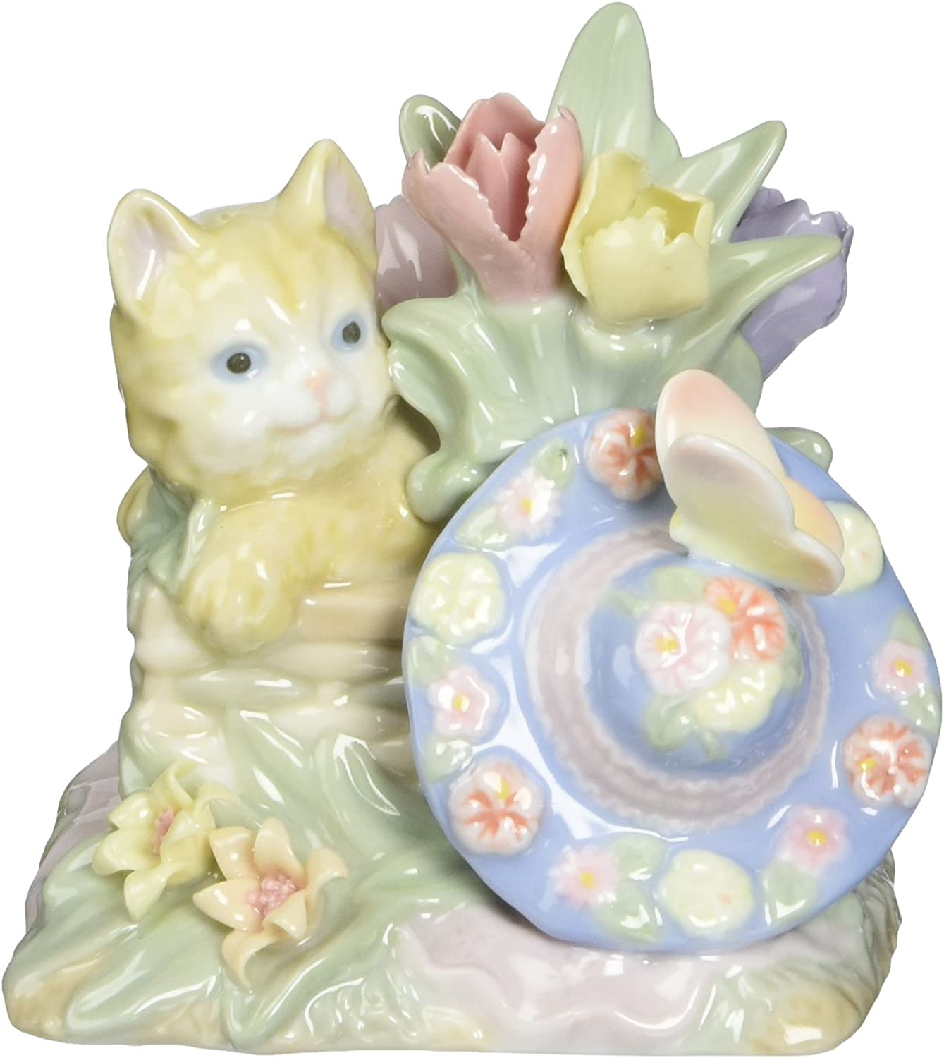Cosmos 6-6 Fine Porcelain Cat in Floral Basket with Butterfly Figurine,  6-6/6-Inch