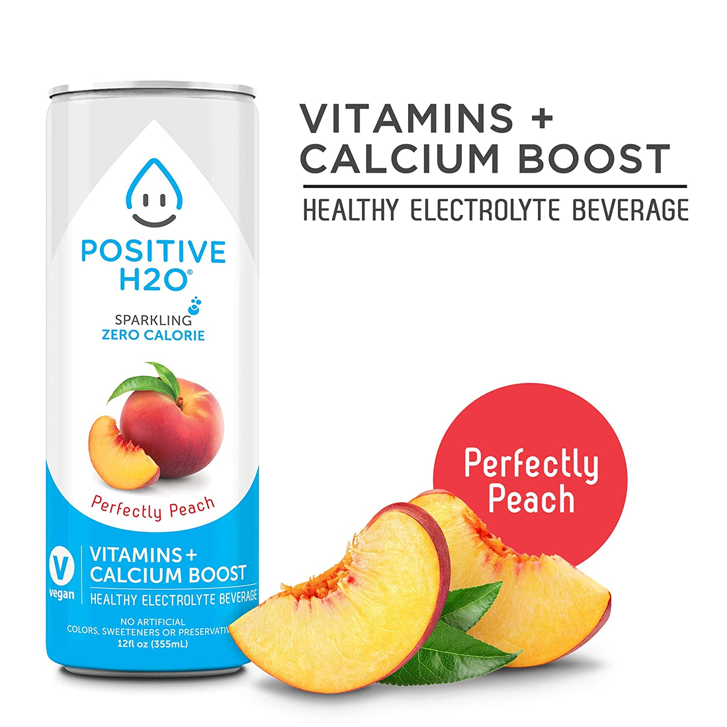 Positive H2O Sparkling Perfectly Peach (24 Count, 12 Fl Oz ...