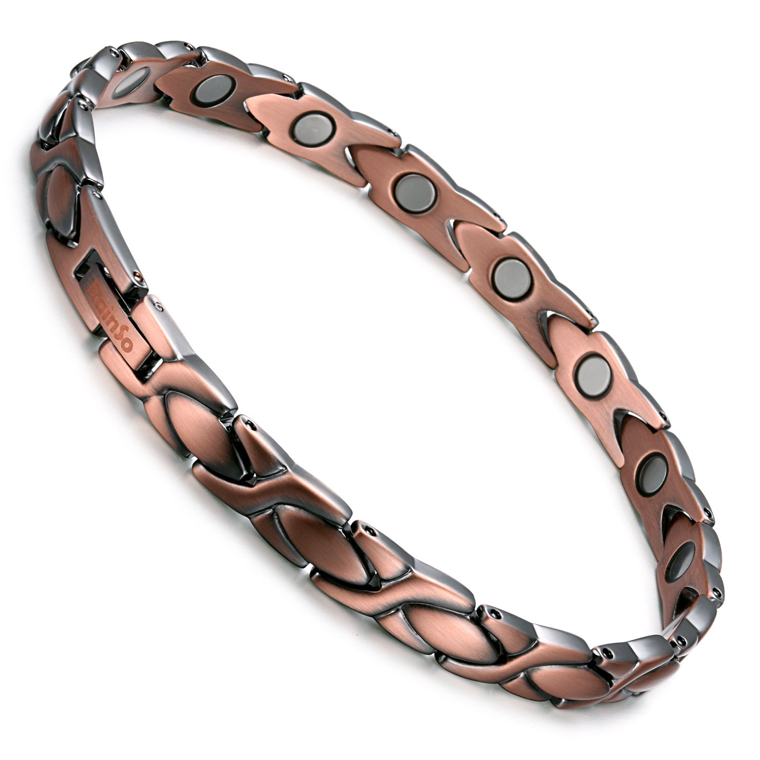 Rainso Elegant Womens Magnetic Copper Bracelets for Arthritis Wristband Adjustable (Copper & Wheat Style)
