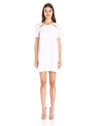 BCBGeneration Women's Lace Contrast Shift Dress, Optic White, X-Small