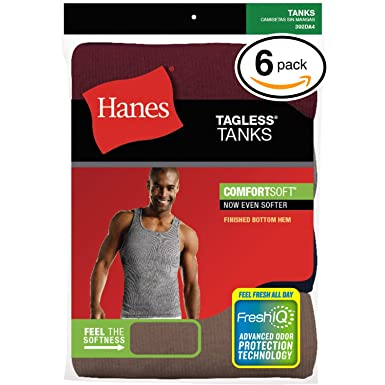 2caaf5cde3e68 Image Unavailable. Image not available for. Color  Hanes Men s FreshIQ TAGLESS  ComfortSoft Undershirt 6-Pack ...