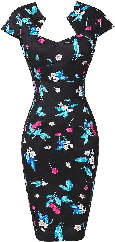 cl7597 XXXXL Stile Vintage Rockabilly Pin up Anni 50 Mancheron Destra Floral-6 GRACE KARIN Vestito da Donna Aderente