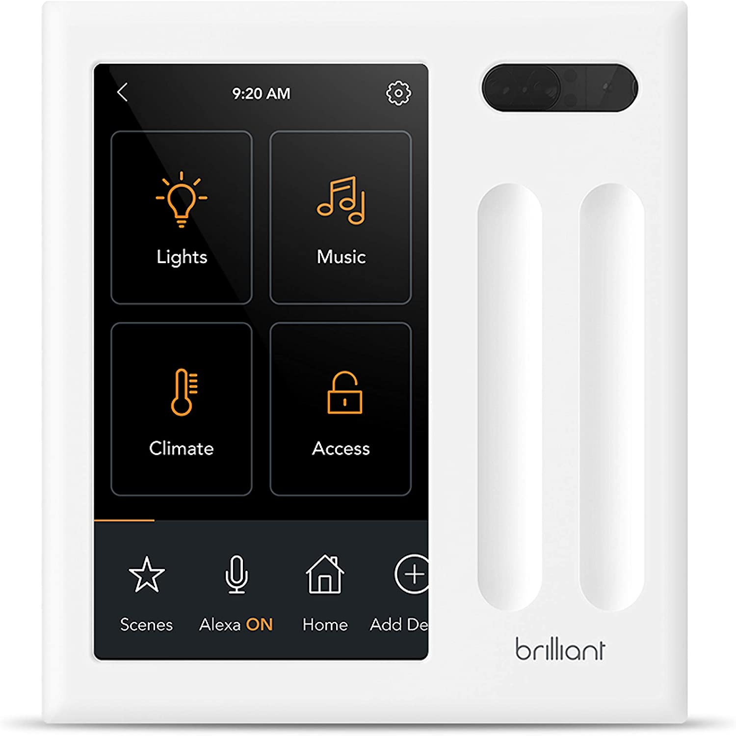 Brilliant Smart Home Control (2-Switch Panel) — Alexa Built-In & Compatible with Ring, Sonos, Hue, Kasa/TP-Link, Wemo, SmartThings, Apple HomeKit — In-Wall Touchscreen Control for Lights, Music & More