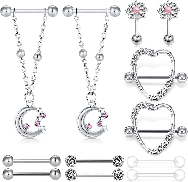 INCATON 4 Pieces 14G Nipple Rings Barbell Dangle Shape Rings Stainless Steel Tongue Nipple Rings Jewelry Body Piercing