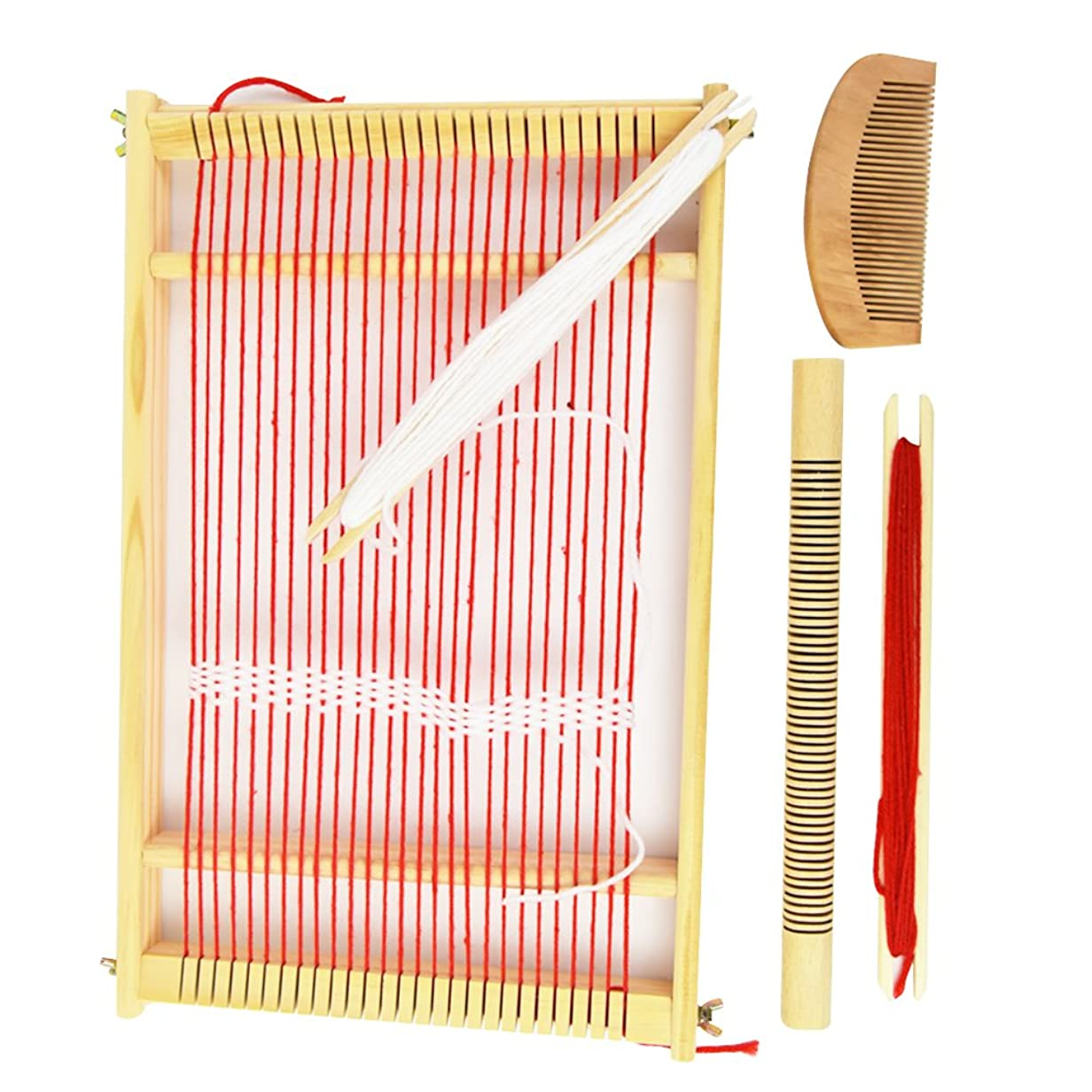 反対請求可能無駄PH PandaHall 木製 手織り機 編み機 はたおりき 卓上織り機 糸付き(混合4色) 子ども 大人兼用 220x165x25mm 手芸道具 メイキングトイ 操作簡単 おもちゃ 手芸屋さんの重宝 制作道具 布づくり ストール コースター