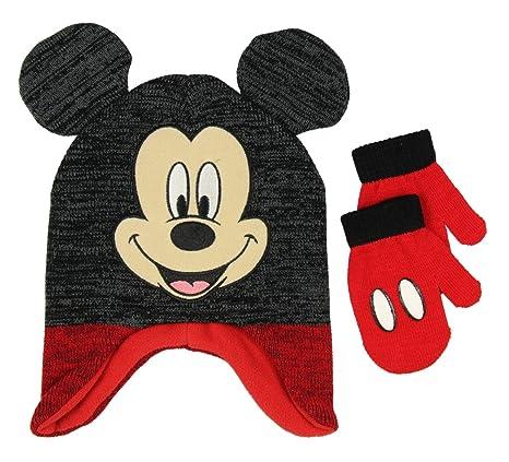Disney Boys Mickey Mouse Hat /& Gloves Set Blue One Size