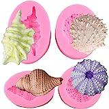 Mujiang Seashell Silicone Mold Shell Fondant Molds Cupcake Cake Decoration Tool Set